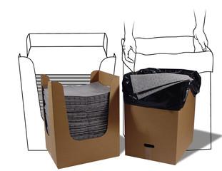 MRO150-DND-E, MRO PLUS - silné úklidové rohože pro průmyslové provozy, s boxem na použitý sorbent