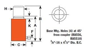 Hydraulický válec hliníkový, typ RA 204 - 1 ks